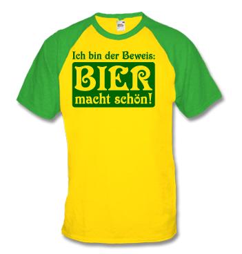 Baseball Shirt mit Spruch - Ich bin der Beweis: Bier macht schön!