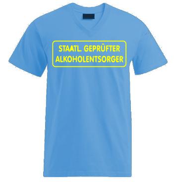 V-Shirt mit Spruch - Staatl. Geprüfter Alkoholentsorger