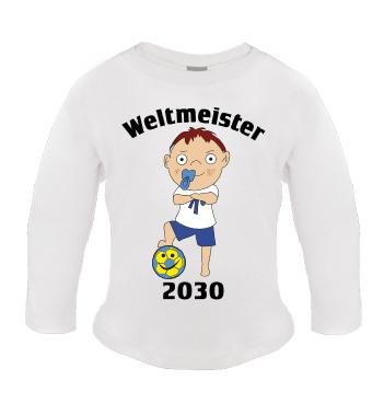 Baby Langarm Shirt mit Spruch - Weltmeister 2030