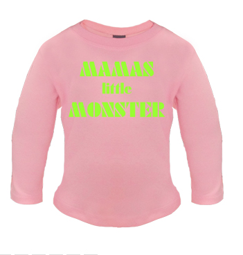 rosa Longshirt mit Spruch - Mamas little Monster