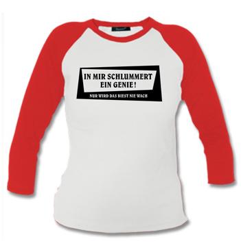 Kinder Langarm Baseball Shirt mit Spruch - In mir schlummert ein Genie! Nur wird das Beste nie wach.