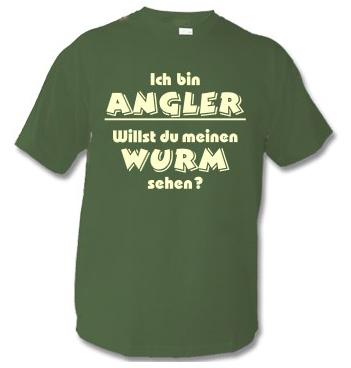 T-Shirt mit Spruch - Ich bin Angler - willst du mein Wurm sehen?